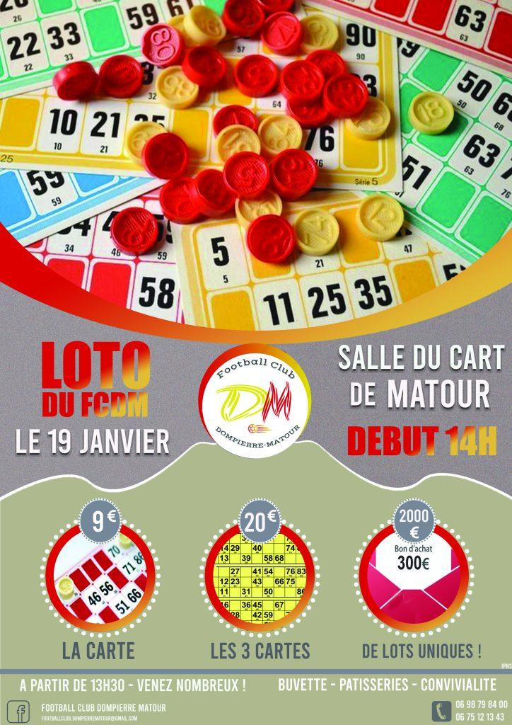 19 Janvier Loto du FCDM 2020 Salle du Cart Matour