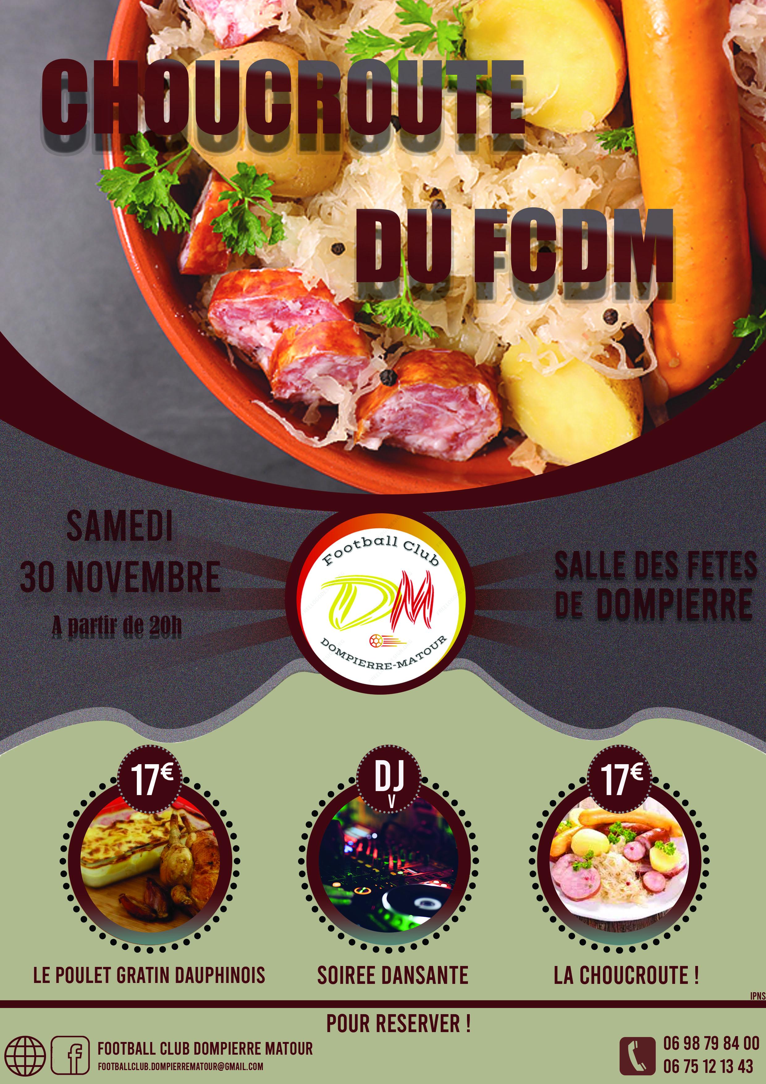 Choucroute du FCDM : samedi 30 novembre