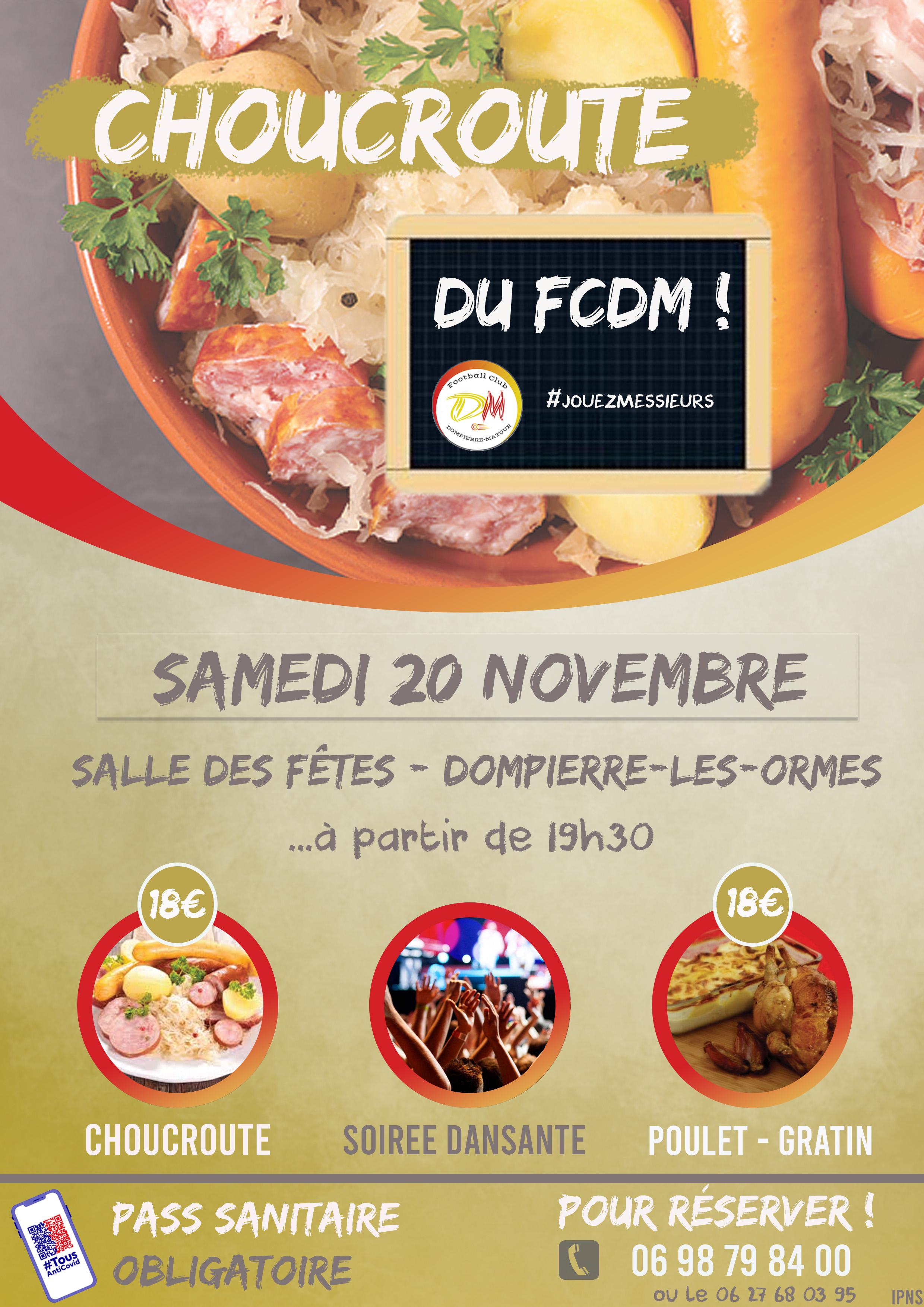 Choucroute du FCDM – Samedi 20 novembre : VENEZ NOMBREUX